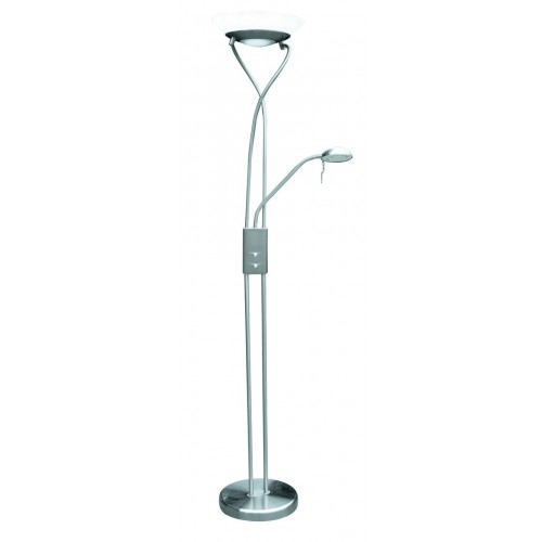 Rábalux 4077 Gamma, 2-ram. stojacia lampa, saténová chrómová