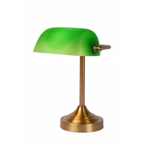Lucide 17504/01/03 Banker Lamp E14 W22cm H30cm Glass Green/ Bronze